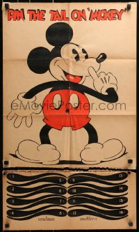 4k128 MICKEY MOUSE 18x30 game poster 1930s cool Pin the Tail on Mickey birthday party game, rare!