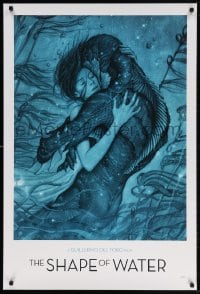 4k075 SHAPE OF WATER heavy stock 27x40 special poster 2017 Guillermo del Toro, best James Jean art!
