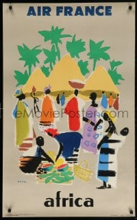 4k086 AIR FRANCE AFRICA 24x39 French travel poster 1959 colorful Jean Even art of villagers, rare!