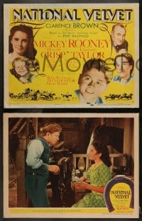 4k147 NATIONAL VELVET 8 LCs 1944 Elizabeth Taylor & Mickey Rooney classic, ultra rare complete set!