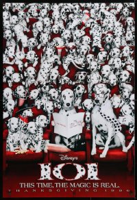 4r500 101 DALMATIANS teaser DS 1sh 1996 Walt Disney live action, wacky image of dogs in theater!