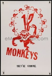 4r501 12 MONKEYS teaser 1sh 1995 Bruce Willis, Brad Pitt, Stowe, Terry Gilliam directed sci-fi!