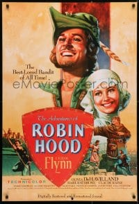 4r512 ADVENTURES OF ROBIN HOOD 1sh R1989 great Rodriguez art of Errol Flynn & Olivia De Havilland!