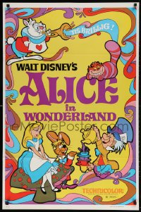 4r514 ALICE IN WONDERLAND 1sh R1981 Walt Disney Lewis Carroll classic, cool psychedelic art