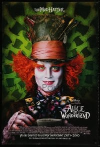 4r513 ALICE IN WONDERLAND int'l advance DS 1sh 2010 Tim Burton, Johnny Depp, Carter, Wasikowska!