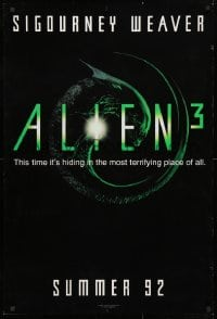 4r515 ALIEN 3 teaser 1sh 1992 Sigourney Weaver, 3 times the danger, 3 times the terror!
