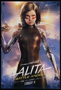 4r516 ALITA: BATTLE ANGEL style B teaser DS 1sh 2019 cool image of the CGI character with sword!
