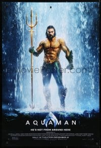 4r523 AQUAMAN advance DS 1sh 2018 DC, Jason Mamoa in title role, he's not from around here!