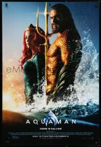 4r524 AQUAMAN advance DS 1sh 2018 DC, Mamoa in title role with sexy Amber Heard, home is calling!
