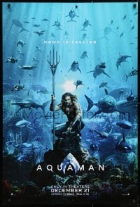 4r526 AQUAMAN teaser DS 1sh 2018 DC, Jason Mamoa in title role with great white sharks and more!