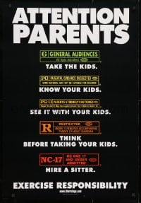 4r529 ATTENTION PARENTS 27x39 1sh 2000 MPAA rating guide for adults, exercise responsibility!