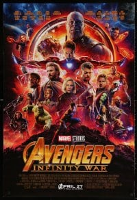 4r535 AVENGERS: INFINITY WAR advance DS 1sh 2018 Robert Downey Jr., montage, coming April 27th!