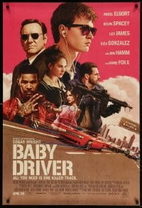 4r536 BABY DRIVER advance 1sh 2017 Ansel Elgort, artwork by Rory Kurtz!