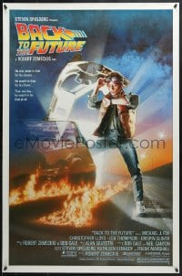 4r538 BACK TO THE FUTURE studio style 1sh 1985 art of Michael J. Fox & Delorean by Drew Struzan!