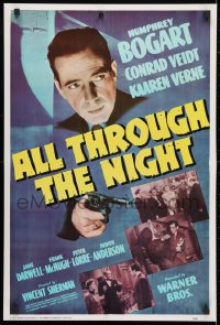 4r135 ALL THROUGH THE NIGHT 20x29 commercial poster 1975 cool image of Humphrey Bogart w/gun!