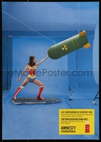 4r238 AMNESTY INTERNATIONAL 2-sided 12x17 Belgian special poster 2000s Wonder Woman stopping bomb!