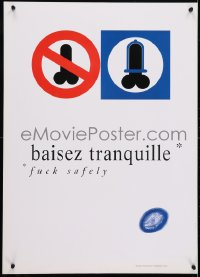 4r246 BAISEZ TRANQUILLE 20x28 French special poster 1990s HIV/AIDS, protect yourself!