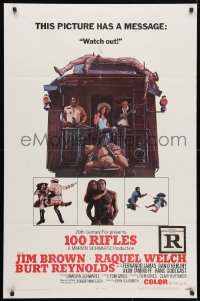 4t005 100 RIFLES 1sh 1969 Jim Brown, Raquel Welch & Burt Reynolds!