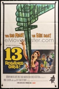 4t006 13 FRIGHTENED GIRLS 1sh 1963 William Castle, great screaming women artwork!