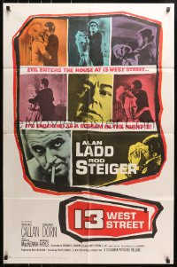 4t007 13 WEST STREET 1sh 1962 Alan Ladd, Rod Steiger, as shocking as a scream in the night!