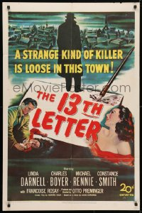 4t008 13th LETTER 1sh 1951 Otto Preminger, Linda Darnell, a strange kind of killer is loose!