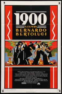 4t009 1900 1sh 1977 directed by Bernardo Bertolucci, Robert De Niro, cool Doug Johnson art!