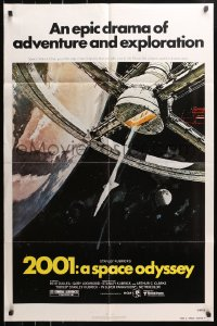 4t012 2001: A SPACE ODYSSEY 1sh R1980 Stanley Kubrick, art of space wheel by Bob McCall!