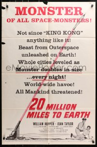 4t011 20 MILLION MILES TO EARTH style B 1sh 1957 monster of all space-monsters, not since King Kong!