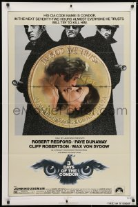 4t003 3 DAYS OF THE CONDOR 1sh 1975 CIA analyst Robert Redford & Faye Dunaway!