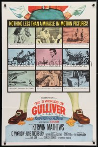 4t001 3 WORLDS OF GULLIVER 1sh 1960 Ray Harryhausen fantasy classic, art of giant Kerwin Mathews!