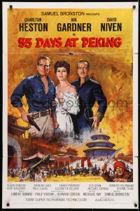 4t018 55 DAYS AT PEKING 1sh 1963 Terpning art of Charlton Heston, Ava Gardner & David Niven!
