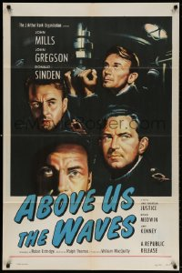 4t020 ABOVE US THE WAVES 1sh 1956 art of John Mills & English WWII sailors at periscope in sub!