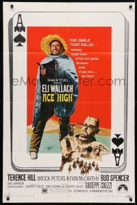 4t022 ACE HIGH 1sh 1969 Eli Wallach, Terence Hill, spaghetti western, ace of spades design!
