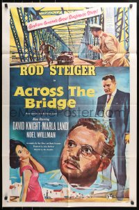 4t024 ACROSS THE BRIDGE 1sh 1958 Rod Steiger in Graham Greene's great suspense story!