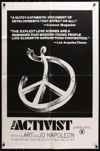 4t026 ACTIVIST 1sh 1970 counter-culture documentary rated X for explicit love scenes!