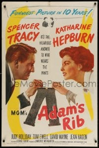 4t027 ADAM'S RIB 1sh 1949 Spencer Tracy & Katharine Hepburn fight over who wears the pants!