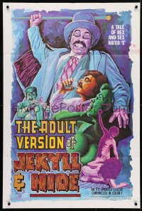 4t028 ADULT VERSION OF JEKYLL & HIDE 1sh 1973 a tale of hex & sex, rated-X, wild horror art!
