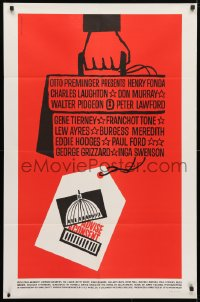 4t031 ADVISE & CONSENT 1sh 1962 Otto Preminger, Saul Bass Washington Capitol & attache case art!
