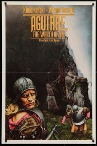 4t032 AGUIRRE, THE WRATH OF GOD 1sh 1977 Werner Herzog, art of crazy Klaus Kinski by M. Deas!