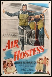 4t033 AIR HOSTESS 1sh 1949 cool image of parajumper + pretty Gloria Henry!