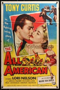 4t038 ALL AMERICAN 1sh 1953 Tony Curtis kissing Mamie Van Doren in her first movie, football!
