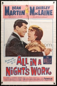 4t039 ALL IN A NIGHT'S WORK 1sh 1961 Dean Martin, sexy Shirley MacLaine wearing only a towel!