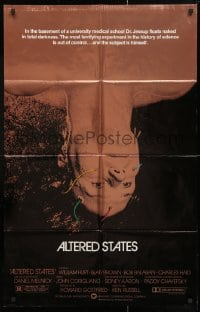4t042 ALTERED STATES foil 25x39 1sh 1980 William Hurt, Paddy Chayefsky, Ken Russell, sci-fi!