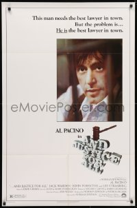4t046 AND JUSTICE FOR ALL 1sh 1979 directed by Norman Jewison, Al Pacino is out of order!