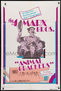 4t048 ANIMAL CRACKERS 1sh R1974 art of all four Marx Brothers, Groucho, Harpo, Chico, and Zeppo!