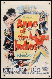 4t051 ANNE OF THE INDIES 1sh 1951 artwork of history's fabulous pirate queen Jean Peters!