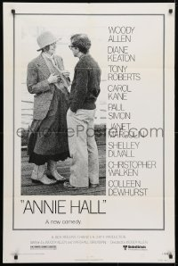 4t052 ANNIE HALL revised 1sh 1977 full-length Woody Allen & Diane Keaton, a new comedy!