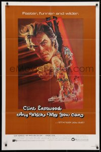 4t053 ANY WHICH WAY YOU CAN 1sh 1980 cool artwork of Clint Eastwood & Clyde by Bob Peak!