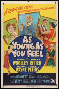 4t054 AS YOUNG AS YOU FEEL 1sh 1951 great art including young sexy Marilyn Monroe!