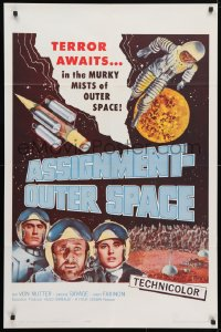 4t057 ASSIGNMENT-OUTER SPACE 1sh 1962 Antonio Margheriti directed, Italian sci-fi Space Men!